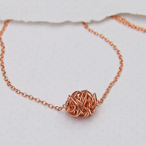 14ct Rose Gold Filled Wire Wrapped Necklace - necklaces & pendants
