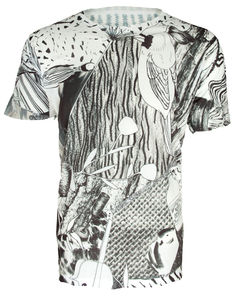 Unisex Monochrome Parrot Printed T Shirt Tee - women's fashion