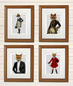 Foxy Collection Set Of Four Dictionary Prints - animals & wildlife