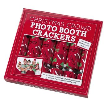 Set Of Six Photo Booth Christmas Crackers