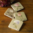 Set Of Four Ceramic Garden Flower Coasters