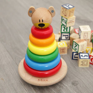 Personalised Wooden Bear Stacker - gifts for babies