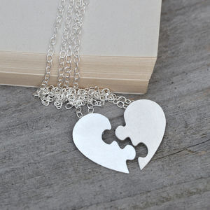 Personalised Jigsaw Puzzle Heart Necklaces In Silver