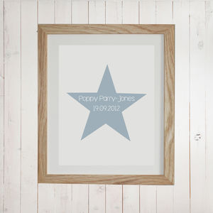 Personalised Name And Date Star Print