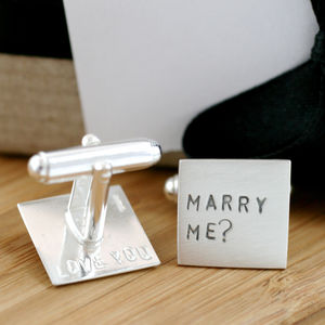 Personalised Silver Marry Me Cufflinks - wedding fashion