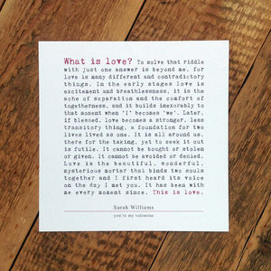 Personalised Valentine Card; What Is Love