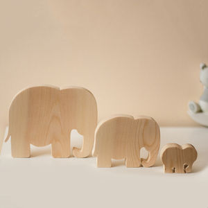 Set Of Three Wooden Elephant Ornaments - home accessories