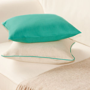 Turquoise And Oatmeal Linen Cushion Cover
