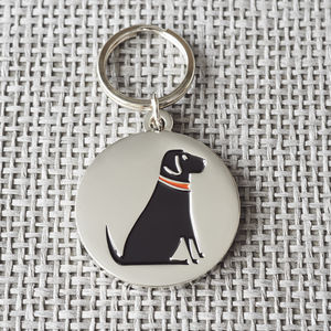 Black Labrador ID Name Tag - pet tags & charms