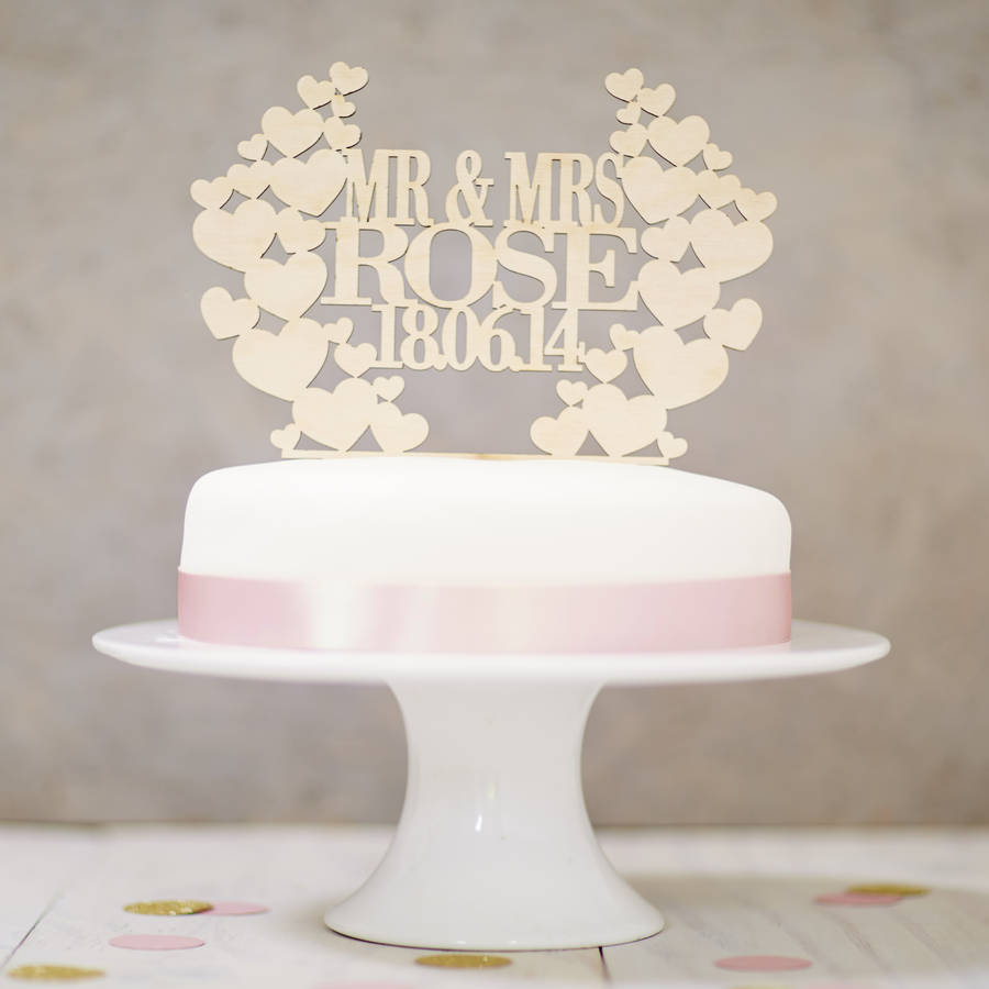 Personalised Heart Wreath Wedding Wooden Cake Topper