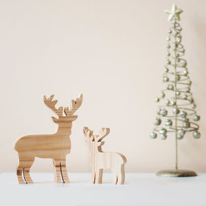 Wooden Mother And Baby Reindeer Ornaments