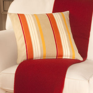 Large Orange And Yellow Striped Cushion - bedroom