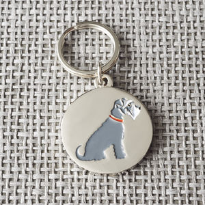 Grey Schnauzer Dog ID Name Tag - dogs