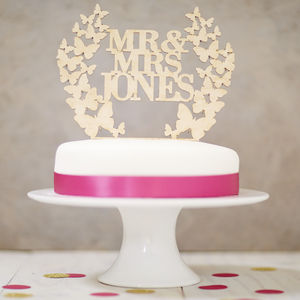 Personalised Butterfly Wreath Wooden Cake Topper - cake toppers & decorations