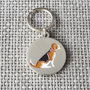 Beagle Dog ID Name Tag - dogs
