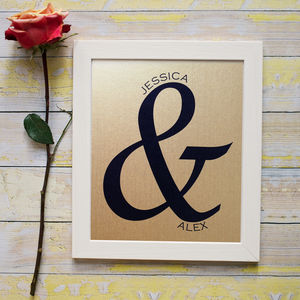 Personalised Ampersand Metallic Print