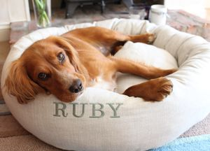 Personalised Linen Donut Dog Bed