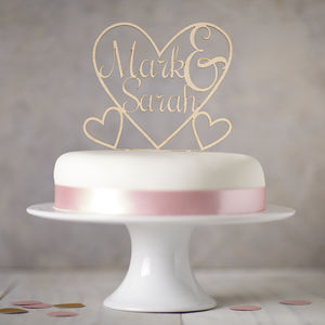 Personalised Heart Wooden Wedding Cake Topper - cake decoration