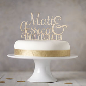 Personalised Ever After Wooden Cake Topper - cake decoration