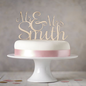 Personalised 'Mr And Mrs' Wooden Wedding Cake Topper - table decorations