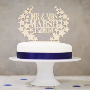Personalised Star Wreath Wooden Wedding Cake Topper