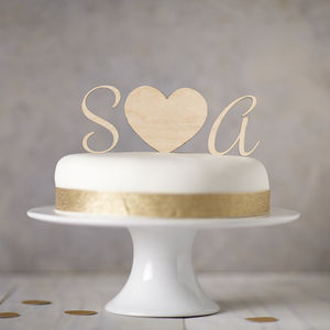 Personalised Wooden Monogram Cake Toppers - cake decoration