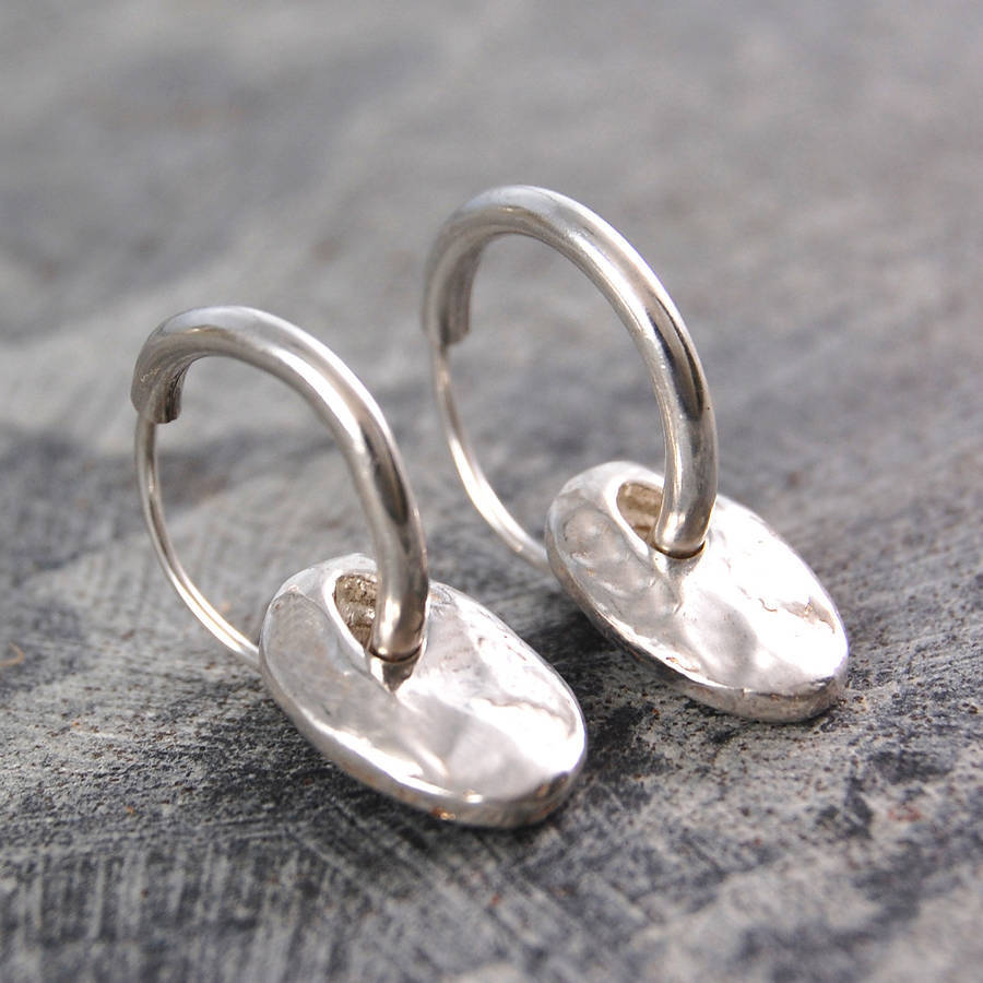 Coin Drop Silver Hoop Earrings