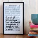 Literary Pride And Prejudice Quote Print