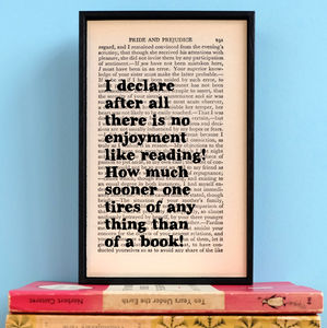 Literary Pride And Prejudice Quote Print - home accessories