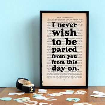 """I never wish to be parted from you"" Pride and Prejudice quote print"