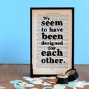 """We seem to have been designed for each other"" Pride and Prejudice wedding gift"