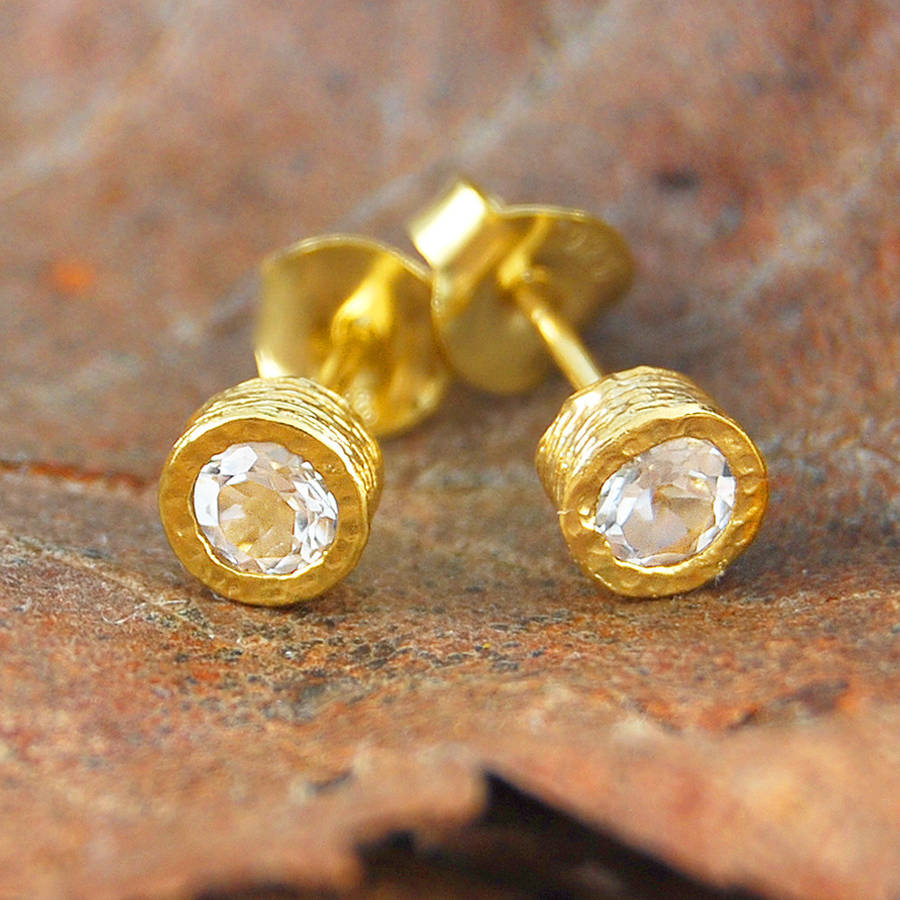 Gold And White Topaz Stud Earrings