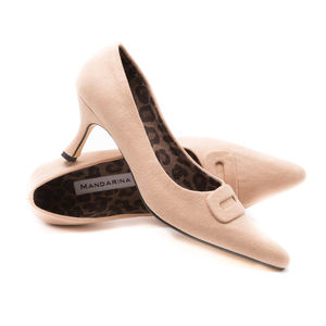 Nude Suede Court Shoe - women's fashion