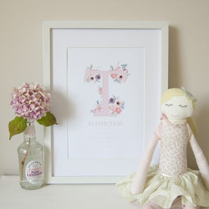 Personalised Dotty Floral Name Print