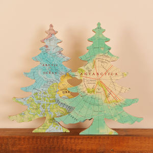 Arctic And Antarctic Map Free Standing Christmas Tree - fireplace accessories