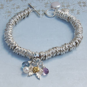 Sterling Silver Gemstone,Pearl And Angel Wing Bracelet - bracelets & bangles