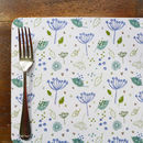 Set Of Four Blue Parsley Placemats