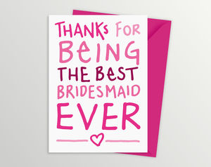 Thank You Card For Bridesmaid - wedding thank you gifts