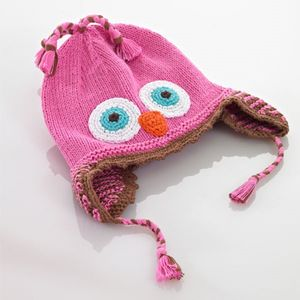 Winter Owl Motif Hat With Earflaps Boy And Girl - babies' hats