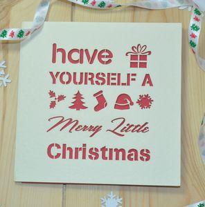 'Merry Little Christmas' Laser Cut Christmas Card - cards & wrap