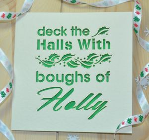 'Deck The Halls' Laser Cut Christmas Card - cards & wrap