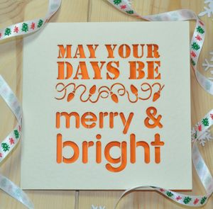'Merry And Bright' Laser Cut Christmas Card - cards & invitations