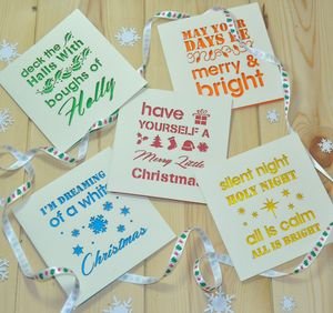 Typographic Laser Cut Christmas Cards Pack Of Five - cards