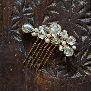 Megan Crystal And Pearl Little Hair Comb - wedding jewellery