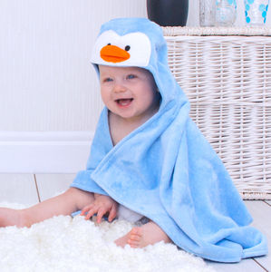 Penguin Baby Hooded Towel - bathtime