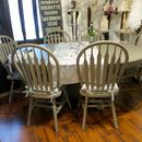 Painted Vintage Dining Table And Six Chairs