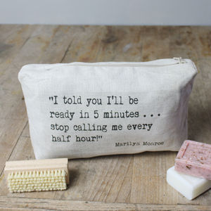 Personalised Inspirational Quote Wash Bag