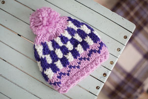 Purple Bobble Hat