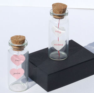 Two Hearts Tiny Message In A Bottle - gifts for her