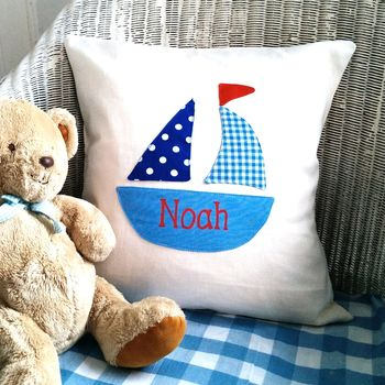 Nautical Boys Boat Cushion Can Be Personalised